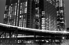 N & 7 Trains with Long Island City Buildings - Queens, NY -  May 2018 (Matthew Mu Photography) Tags: newyorkcity longislandcity queens city building blackwhite film architecture tmax kodak 35mm queensboroplaza eltrains canona1 doubleexposure
