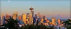 Seattle Skyline Golden Hour Panorama (Wolf Creek Carl) Tags: seattle washington spaceneedle panorama goldenhour urban city moon sky mtranier dusk skyline