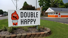 Double Happy (dankeck) Tags: west south columbus centralohio ohio franklincounty walkup softserve milkshakes icecream coffee food stand fastfood takeout doublehappy sign smiling cone logo orange smile shop