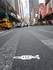 Tallish Stikman White Robot Tile Times Square NYC 7106 (Brechtbug) Tags: a return stikensian era white robot tile stikman broadway times square nyc street art graffiti tag tagging stencil cut out toynbee stickman asphalt figurative school flat action figures new york city 08102018 cross walk smoke 2018 stik man men curious streets summer heat august