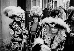 Pearly Queens (gwpics) Tags: tradition women england london people clothes streetphotography hats archive costume mono pearly analog analogue clothing everydaylife female film leica lifestyle monochrome person socialcomment socialdocumentary society streetphotos streetpics traditional bw blackwhite blackandwhite streetlife