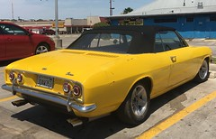 Unsafe at Any Speed (kimberlee.marshall) Tags: convertible monza 4speed aftermarketdualexhaust ralphnader unsafeatanyspeed car classic corvair rearengine consumerprotection chevrolet chevy parkinglot sanantonio texas april 2018