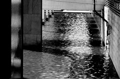 --- water & shadow --- (christikren) Tags: architecture abstract blackwhite bw christikren light lines monochrome noiretblanc panasonic reflection sw water shadow austria concrete