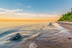 Lake Michigan (Daniel000000) Tags: beach water lake michigan great lakes rock rocks sand sandy art sky sunset light blue orange white green tree trees park nature landscape nikon waves reflections d750 tamron wide angle lens