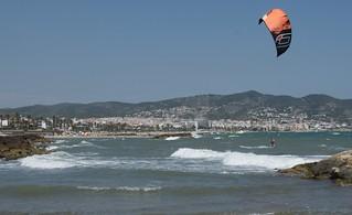 Extreme sport sobre heavy sea