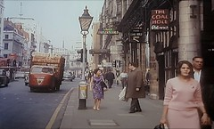 The Strand, London. 1960s (ManOfYorkshire) Tags: scammel scarab 3wheeler lorry carrier produce loaded thestrand london england 1960s