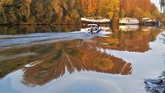 reflet changeant (garance11) Tags: reflet auverssuroise eau bateau water boat rivière orange automne france garance11