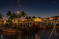 Key West - Conch Harbor ** {image on Explore ♥ thanks} (Andrea Garza ~) Tags: florida keywest sky boat sailboat reflection night nightphotography travel water ocean moon usa marina harbor harbour conch sailing
