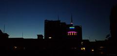 skyline (amazingstoker) Tags: basingstoke amazingstoke basingrad festival place vue cinema blue hour neon glow dusk silhouette light evening night clear sky noise grain tower