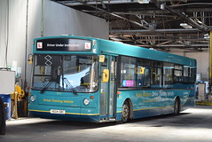 AMN 9504 @ Tamworth Aldergate depot (ianjpoole) Tags: arriva midlands volvo b10ble alexander alx300 v604dbc 9504 inside tamworth aldergate garage
