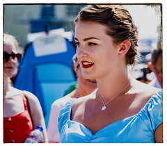pale girl in a blue dress (Mark Rigler -) Tags: vintage day poole quay dorset england people fun happy street crowd pretty cute sweet young