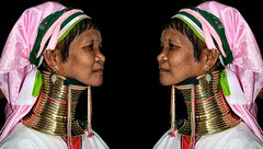 Three very small differences (Luc1659) Tags: women donne myanmar giraffa portrait colors