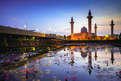 The tengku ampuan jemaah mosque or bukit jelutong mosque during beautiful sunrise, Kuala Lumpur Malaysia (Patrick Foto ;)) Tags: ampuan architecture asia beauty building bukit city culture design dome early exterior famous flower islam islamic jelutong jemaah kualalumpur lake landmark landscape lotus malaysia malaysian masjid minaret morning mosque muslim nature outdoor place pond pool ramadan ramadhan reflection religion religious shah sky sunrise sunset tengku tourism traditional travel view water shahalam selangor my