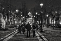 Evening walk. Moscow. (rededia) Tags: city architecture park night monochrome moscow nikon d850