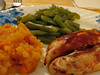 Supper Plate. (dccradio) Tags: lumberton nc northcarolina robesoncounty eat food inside indoors meal supper dinner lunch turnip rutabaga beans greenbeans chicken bbqsauce barbecuesauce barbquesauce corelle plate canon powershot elph 520hs
