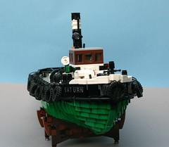 Saturn prow starboard (koffiemoc) Tags: lego moc mocs ship steam tug lowlug