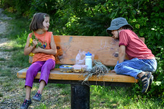 Snack Break (Vegan Butterfly) Tags: outside outdoor whitemud ravine nature reserve edmonton alberta children kids together friends break homeschool homeschooling bench rest