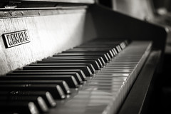 Ebony and Ivory... (jonbawden50) Tags: piano keyboard mono monochrome bnw bw blackandwhite dof fuji 55mm f14 cosinon manual focus vintage lens contrast musical instrument lines keys