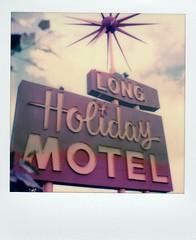 Long Holiday Motel neon- Gunnison, CO (EllenJo) Tags: instantfilm polaroid roadtriptocolorado july2018 ellenjo film instant roadtrip vacation polaroidoriginals impossibleproject theimpossibleproject