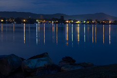 Vertical Lines - Night Reflections on the Bay (Merrillie) Tags: night blackwall landscape water reflections city nighttime newsouthwales homes lights brisbanewater sthubertsisland australia nightlights mountains woywoy lines nightscape centralcoast town bay
