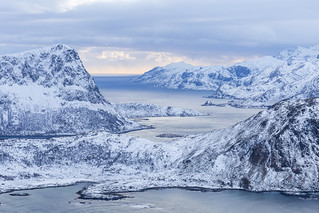 Aerial view over Lofoten Islands in winter