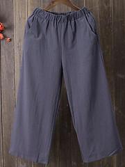Women Elastic Waist Solid Linen Cotton Pants (1331126) #Banggood (SuperDeals.BG) Tags: superdeals banggood clothing apparel women elastic waist solid linen cotton pants 1331126