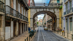 Lisbon, Portugal: Narrow streets in Bairro Alto (nabobswims) Tags: hdr highdynamicrange ilce6000 lightroom lisboa lisbon nabob nabobswims pt photomatix portugal sel18105g sonya6000 arch bridge bairroalto