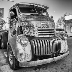 1946 Chevy COE (Photos By Clark) Tags: california canon2470 unitedstates location northamerica canon5div locale places where escondido us truck blackandwhite nik lightroom silverefx convert rust searchingforyear needswork asis thesandiegoist squarecrop