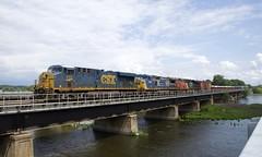 CSX, ex-CSX & CN power (Michael Berry Railfan) Tags: csxt712 gecx7865 cn2274 csx csxt gecx ge generalelectric es44ah es44ac dash8 dash840cw es44dc gevo cn canadiannational cn327 train freighttrain ottawariver dorion