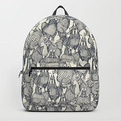 just chickens indigo pearl backpack (Scrummy Things) Tags: mountain illustration nature graphic animals sharonturner surfacepattern pattern backpack soc6 society6 bag chickens birds wyandotte farming indigo ivory pearl