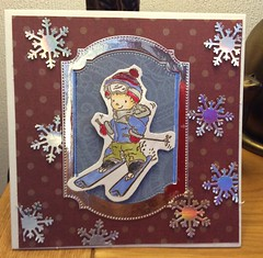 Cutie Christmas cards (margaret.pilkington47) Tags: skier christmascard cutesy snowflakes brightsilver nestinglabels