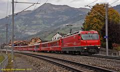 Susch at Shiers (Don Gatehouse) Tags: switzerland suisse schweiz svizzera eisenbahnen graubünden rhätischebahn rhb metregauge classge44 648 schiers susch regioexpress re1029 davosplatz