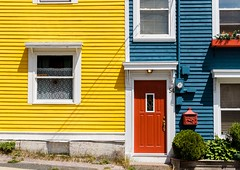 Primary Colours (Karen_Chappell) Tags: red yellow blue green door house paint painted wood wooden jellybeanrow rowhouse downtown city urban stjohns newfoundland nfld canada atlanticcanada avalonpeninsula eastcoast window mailbox architecture colourful colours colour color multicoloured home houses windows white trim clapboard rgb