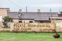 Please Stop Painting Our Churh (Thomas Hawk) Tags: california fresno pleasestoppaintingourchurh usa unitedstates unitedstatesofamerica church graffiti fav10 fav25 fav50