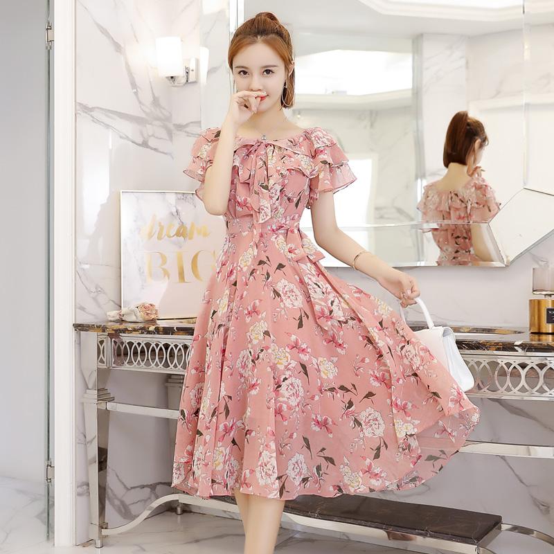Chiffon dress female Xia 2018 new gentle skirt ultra fairy waist pphome broken flower skirt skirt long skirt
