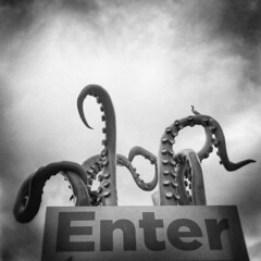 Enter (LowerDarnley) Tags: holga seattle wa washington northwest sign enter tentacles octopus squid