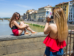 Snap 072 (Peter.Bartlett) Tags: ricohgr sitting women tourists people streetphotography standing cellphone lunaphoto urban candid woman mobilephone peterbartlett girl urbanarte city firenze toscana italy it