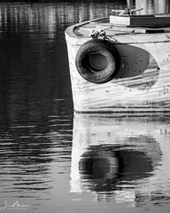 Abandoned Boat (Wits End Photography) Tags: reflection monochrome abandoned landscape missouri river nature water waterway decay outdoor boats watercourse places tire bw black blackwhite blackandwhite country decayed discarded exterior forgotten forsaken gray grey natural neglected old outside picturesque rejected rural scenic view white