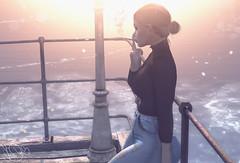 thinking... (Sunkora) Tags: secondlife inworld sea photoshop lights hair draw art avatar catwa cigarett creativ wl windlights women sunset
