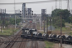 Crossing NS mainline on IHB (kschmidt626) Tags: train steel mill indiana chicago gary switching sw1500 amtrak hammond