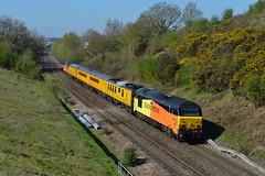 67023 at Chippenham on 19th April 18' (LusitaniaD225) Tags: 67023 1z23 networkrail testtrain colas67 chippenham cockleburylane colaslivery class67
