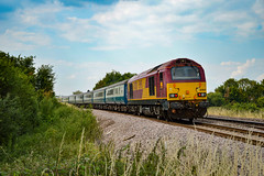 67020 + 67002 - Ely West Junction - 14/07/18. (TRphotography04) Tags: db cargo uk 67020 atw blue 67002 pass second drove footcrossing working the gin train operated by rail road events 1z40 1632 ely peterborough pair worked nonstop shuttles from three times taken 1640
