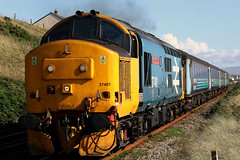 37401 'Mary Queen of Scots' (Cumberland Patriot) Tags: arriva northern trains drs direct rail services kd kingmoor depot carlisle cumbria ee english electric type three type3 12csvt diesel engine class 37 374 37401 37268 6968 d6968 mqos mary queen of scots llb large logo revised br blue dieselelectric locomotive loco motive power cumbrian coast hauled passenger train 2c33 push pull mark two coaches dbso driving brake second open 9704 seascale foot bridge view point thrash clag monster tractor growler