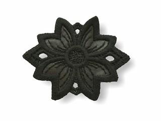 Applikation zum Nähen, Wolle, schwarze Makramee-Blüte (ital.)