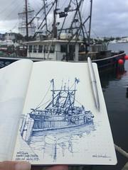 MISS KARA - Hyannis Inner Harbor, Cape Cod (schunky_monkey) Tags: illustration art drawing draw pleinair journal sketchbook sketching sketch fountainpen penandink ink pen water ocean dock harbor hyannisharbor boat