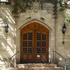 Evanston, IL, Northwestern University, Lutkin Hall, Entrance (Mary Warren 12.1+ Million Views) Tags: evanstonil northwesternuniversity architecture building lutkinhall lamps door doorway portal entrance limestone stairs