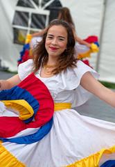 Ecuadorian Smile (Kurayba) Tags: edmonton alberta canada hawrelak park william heritage festival 2018 ecuador woman women dancing dance dress white rain raining rainy pentax k1 dfa 100 f28 macro wr smcpentaxdfamacro100mmf28wr girl dimples smile ecuadorian wet