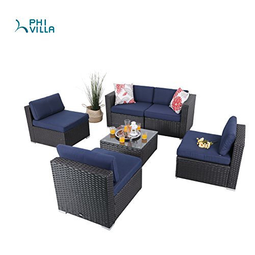 PHI VILLA 6-Piece Patio Furniture Set Rattan Sectional Sofa with Seat Cushions, Blue Review