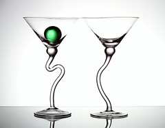 Two Glasses (Karen_Chappell) Tags: two 2 glass glasses white green stilllife ball round circle stemware triangle geometry geometric shapes orb sphere