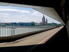 River Danube in Vienna (Geoffrey Thompson.) Tags: church kaisermühlen wien austria aut bridge riverdanube building vienna